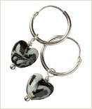 Hjerteperle, lille i porcelæn. Par incl. creol Ø12 mm. Art 6015 Hjerteperle, lille med øsken. Art 6010